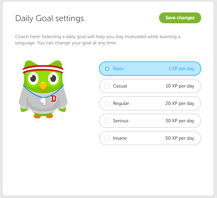 Daily goal settings
